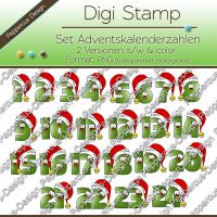 Digi Stamp Set - Adventszahlen - in s/w und color