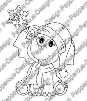 Digi Stamp - Elefant mit Schneeflocke - s/w Version