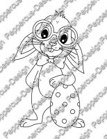 Digi Stamp - Nerd-Hase mit Ei - s/w Version