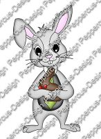 Digi Stamp - Hase mit Schokohase - colorierte Version