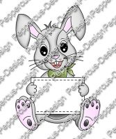 Digi Stamp - Hase mit Blanko-Schild - colorierte Version