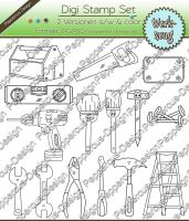 Digi Stamp Set - Werkzeug - 12 Motive in s/w & color