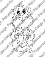 Digi Stamp - Meerie mit Schokokugel - s/w Version