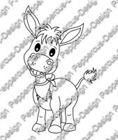 Digi Stamp - Esel Junge Milo - s/w Version