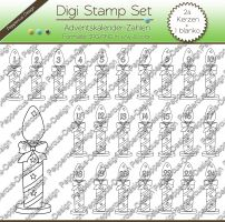 Digi Stamp - Zahlen Set - Adventskerzen - s/w & color Version