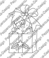 Digi Stamp - Lebkuchenmann in Box - s/w Version