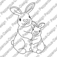 Digi Stamp - Zwei Hasen - s/w Version
