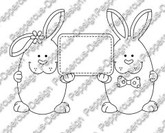 Digi Stamp - Schildchen Hasen - s/w Version