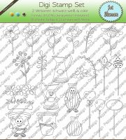 Digi Stamp Set - Blumen in s/w & color 23 einzelne Motive