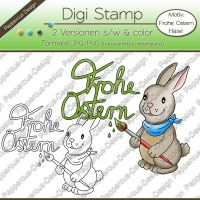 Digi Stamp - Frohe Ostern Hase - s/w & farbige Version