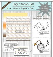 Digi Stamp Set - Birthday Bombe - Motiv + Papier + Text