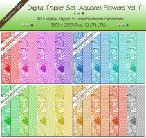32 x digital Papier - Aquarell Flowers Vol. 1