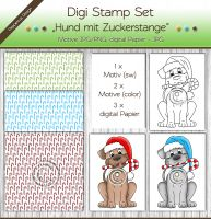 Digi Stamp Set - Hund mit Zuckerstange + digital Papier