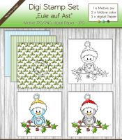 Digi Stamp Set - Eule auf Ast + digital Papier
