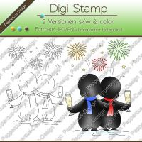 Digi Stamp - Pinguin Silvester - s/w & farbige Version