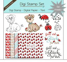 Digi Stamp Set - Hund mit Käfer + digital Papier + Text