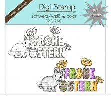Digi Stamp - Frohe Ostern-Hase - s/w & farbige Version
