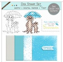 Digi Stamp Set - Otter mit Schirm + digital Papier + Text