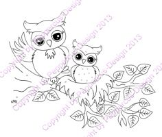 Digi Stamp - Eule im Nest - s/w Version