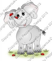 Digi Stamp - Elefant mit Käfer - colorierte Version