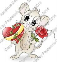 Digi Stamp - Maus mit Herz & Rose - colorierte Version