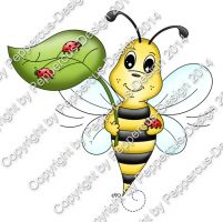 Digi Stamp Bienchen mit Käfer (color Version) + Digital Papier