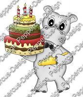 Digi Stamp - Hippo mit Torte - colorierte Version