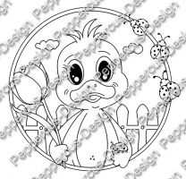 Digi Stamp - PaB Entchen mit Tulpe - s/w Version