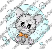 Digi Stamp - PaB - Katze in Seifenblase - colorierte Version
