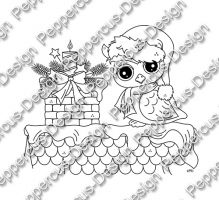 Digi Stamp - Eule auf Dach - s/w Version