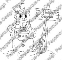 Digi Stamp - Schneemann mit Suppe - s/w Version