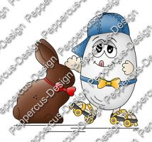 Digi Stamp - Rollschuh-Ei mit Schokohase - colorierte Version