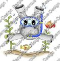 Digi Stamp - Taucher Hippo - colorierte Version