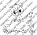 Digi Stamp - Fuchs mit Stamm - s/w Version