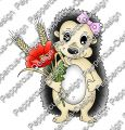 Digi Stamp - Igel mit Mohnblume - colorierte Version