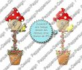 Digi Stamp - Blumentopf Piepmatz - colorierte Version