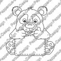 Digi Stamp - Schildchen Panda - s/w Version
