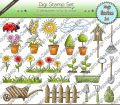 Digi Stamp Set - Garten - 20 Motive in s/w & color