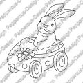 Digi Stamp - Hase im Auto - s/w Version