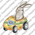 Digi Stamp - Hase im Auto - colorierte Version