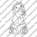 Digi Stamp - Hase auf Baustamm - s/w Version