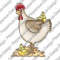 Digi Stamp - Huhn mit Küken - colorierte Version