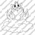 Digi Stamp - Meerie Engel auf Wolke - s/w Version