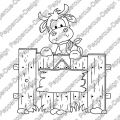 Digi Stamp - Kuh hinter Zaun - s/w Version