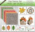 Digi Stamp Set - Herbst - Igel - mit Papier, Text, Plotterdatei