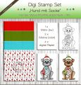 Digi Stamp Set - Hund mit Socke + digital Papier