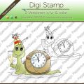 Digi Stamp - Countdown Schnecke - s/w & farbige Version
