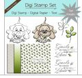 Digi Stamp Set - Hund und Wurm + digital Papier + Text