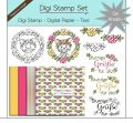 Digi Stamp Set - Blumen Katze + digital Papier + Text