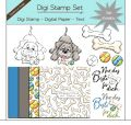 Digi Stamp Set - Hund mit Knochen + digital Papier + Text